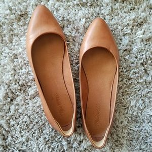 Madewell Sidewalk Skimmer Pointy Flat Tan Leather